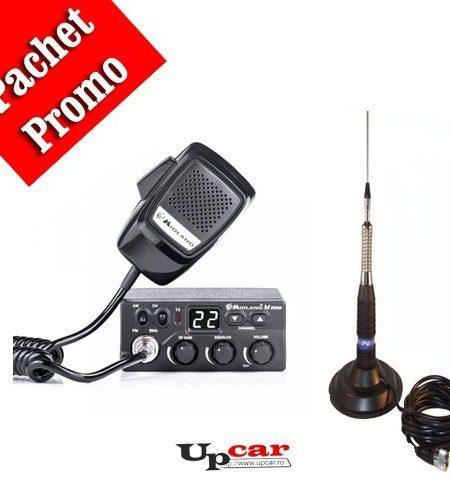 Pachet statie radio auto CB Midland M Zero Plus + Antena CB PNI ML160 lungime 145cm + Baza magnetica