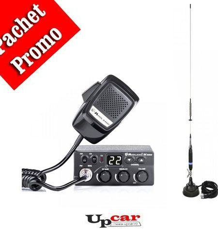 Pachet statie radio auto CB Midland M Zero Plus + Antena CB PNI S75 lungime 75 cm + Baza magnetica