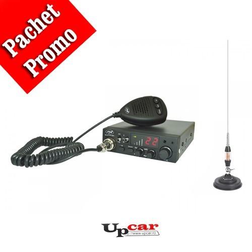 Pachet statie radio auto CB PNI Escort HP 8001 ASQ + casti cu microfon + Antena CB Midland LC65, lungime 114cm + baza magnetica
