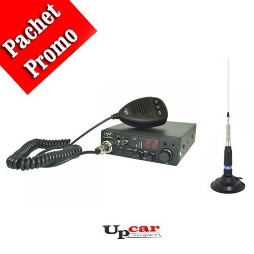 Pachet statie radio auto CB PNI Escort HP 8001 ASQ + casti cu microfon + Antena CB  PNI ML160, lungime 145cm + baza magnetica 145 mm