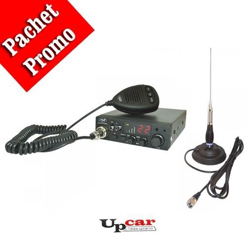 Pachet statie radio auto CB PNI Escort HP 8001L ASQ + casti cu microfon + Antena CB PNI ML100, lungime 100cm +  baza magnetica 125mm