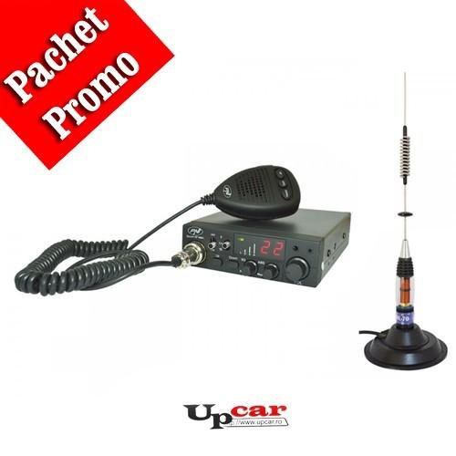 Pachet statie radio auto CB PNI Escort HP 8001L ASQ + casti cu microfon + Antena CB PNI ML70, lungime 70cm + baza magnetica 145 mm