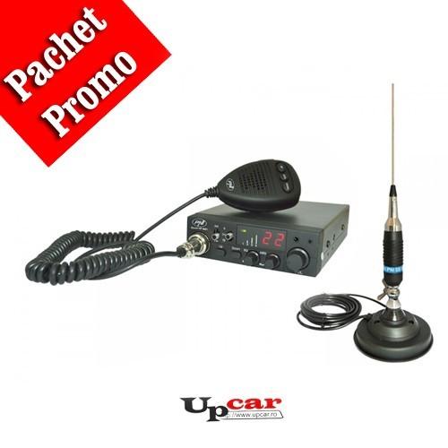Pachet statie radio auto CB PNI Escort HP 8001L ASQ + casti cu microfon + Antena CB PNI S9, lungime 120 cm + baza magnetica cu fluture 125 mm