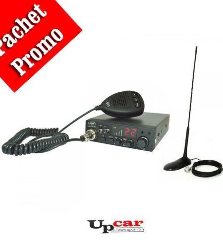Pachet statie radio auto CB PNI Escort HP 8001L ASQ include casti cu microfon + Antena CB PNI Extra 45, lungime 45cm + baza magnetica