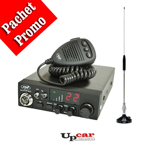 Pachet statie radio auto CB PNI Escort HP 8024 ASQ + Antena CB PNI 18-244 lungime 65cm + Baza magnetica