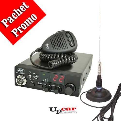 Pachet statie radio auto CB PNI Escort HP 8024 ASQ + Antena CB PNI ML100, lungime 100cm + baza magnetica 125mm