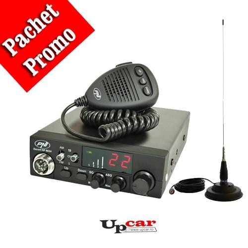 Pachet statie radio auto CB PNI Escort HP 8024 ASQ + Antena CB PNI ML145 lungime 145cm + Baza magnetica