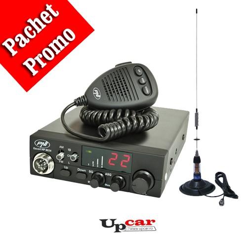 Pachet statie radio auto CB PNI Escort HP 8024 ASQ + Antena CB PNI ML70, lungime 70cm + baza magnetica 145 mm