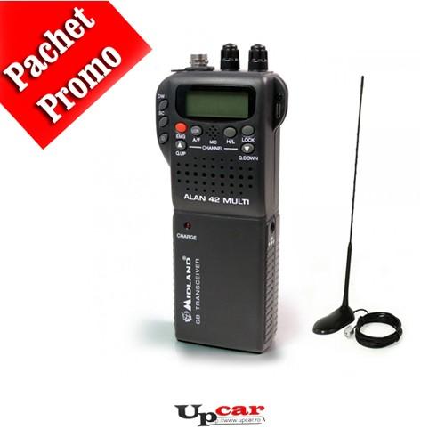 Pachet statie radio auto CB portabila Midland Alan 42 Multi + Antena CB PNI Extra 45, lungime 45cm + baza magnetica