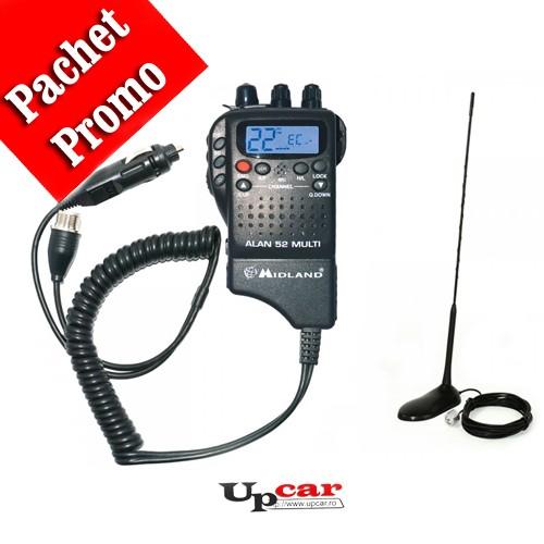 Pachet statie radio auto CB portabila Midland Alan 52 Multi + Antena CB PNI Extra 45, lungime 45cm + baza magnetica