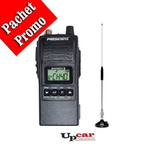 Pachet statie radio auto CB President RANDY II + Antena CB Midland 18-244M lungime 66 cm + Baza magnetica