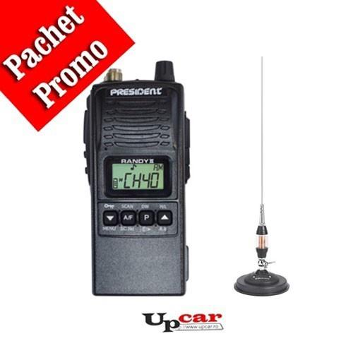 Pachet statie radio auto CB President RANDY II + Antena CB Midland LC65 lungime 114cm + Baza magnetica
