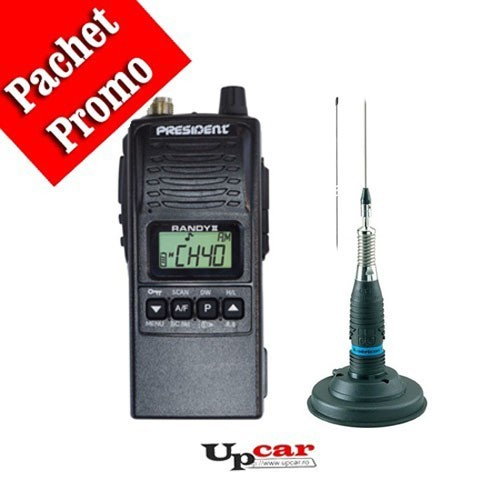 Pachet statie radio auto CB President RANDY II + Antena CB Midland ML145 lungime 145cm + Baza magnetica