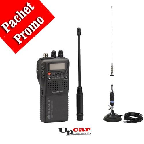 Pachet statie radio auto Midland Alan 42 + Antena CB PNI S75 lungime 75cm + Baza magnetica