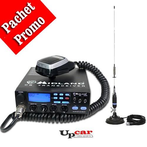 Pachet statie radio auto Midland Alan 48 Multi Plus B + Antena CB PNI S75 lungime 75cm + Baza magnetica