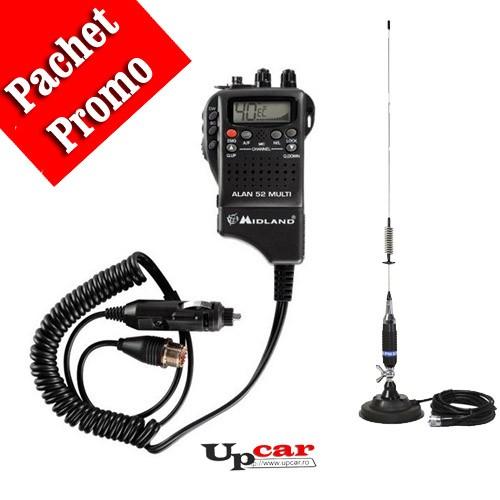 Pachet statie radio auto Midland Alan 52 Multi + Antena CB PNI S75 lungime 75cm + Baza magnetica