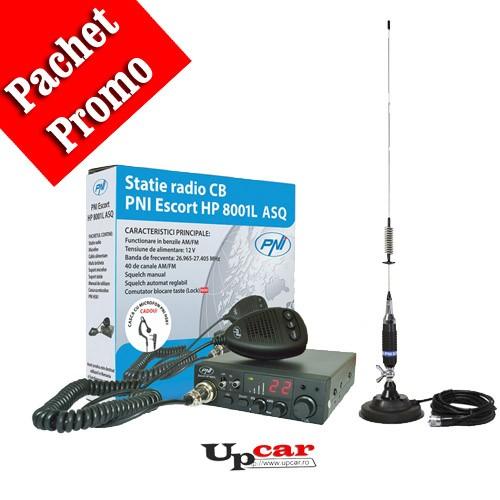 Pachet statie radio auto PNI Escort HP 8001L ASQ + Antena CB PNI S75 lungime 75cm + Baza magnetica