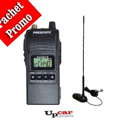 Pachet statie radio auto President RANDY II + Antena CB PNI Extra 45 lungime 45 cm + Baza magnetica