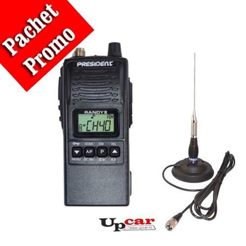 Pachet statie radio auto President RANDY II + Antena CB PNI ML100 lungime 100 cm + Baza magnetica