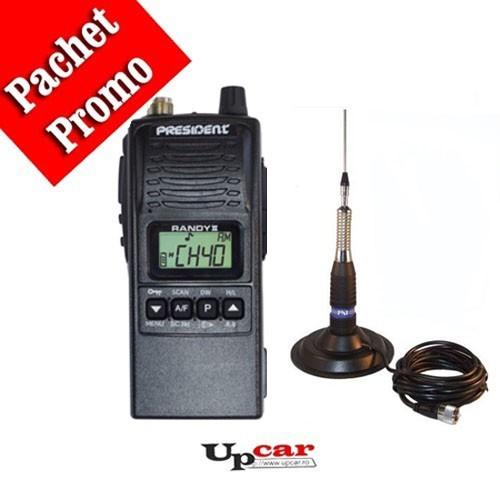 Pachet statie radio auto President RANDY II + Antena CB PNI ML160 lungime 145cm + Baza magnetica