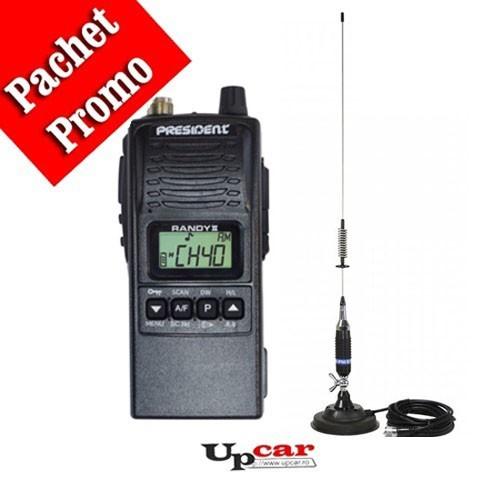 Pachet statie radio auto President RANDY II + Antena CB PNI S75 lungime 75 cm + Baza magnetica
