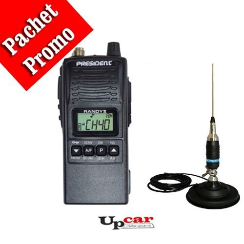 Pachet statie radio auto President RANDY II + Antena CB PNI S9 lungime 120 cm + Baza magnetica