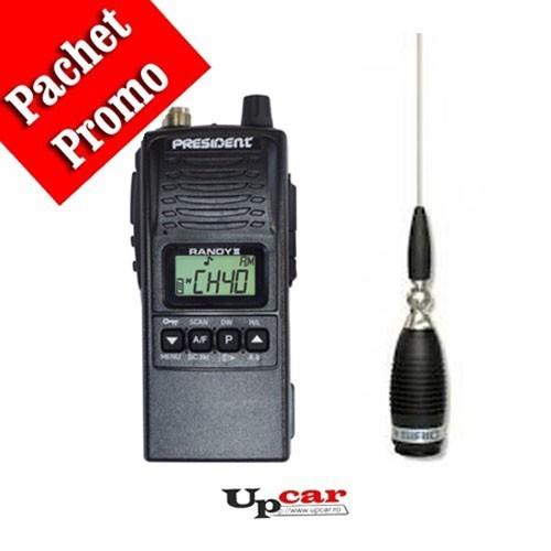 Pachet statie radio auto President RANDY II +  Antena CB Sirio Megawatt 4000 PL, 203.5cm, fara cablu + Baza magnetica