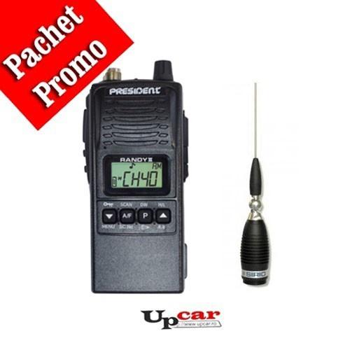 Pachet statie radio auto President RANDY II + Antena CB Sirio Megawatt 3000 PL, 173.5cm, fara cablu + Baza magnetica