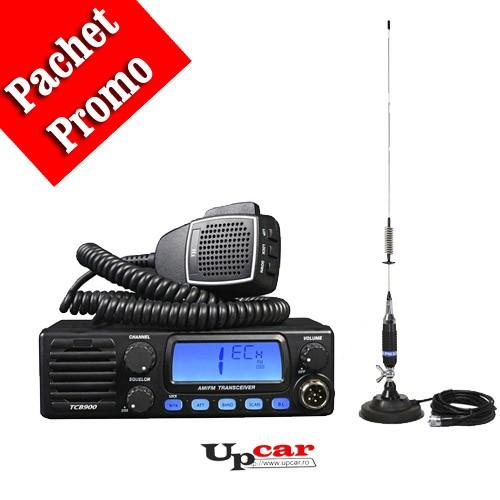 Pachet statie radio auto TTi TCB-900 + Antena CB PNI S75 lungime 75cm + Baza magnetica