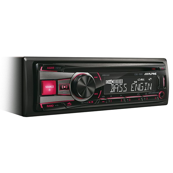 Player auto Alpine CDE-190R, 4x50W, USB, AUX, CD, Bluetooth, Panou frontal detasabil