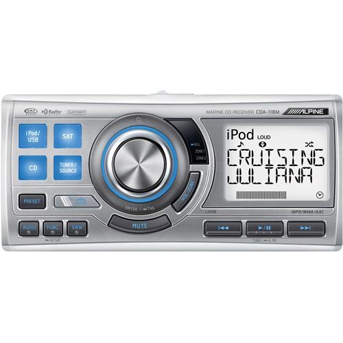 Player auto waterproof Alpine CDA-118M, 1.8 DIN, USB, Bluetooth, CD, 4x50W